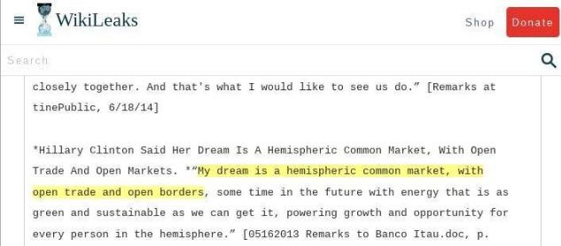 HACKED: Hillary Clinton is an enemy of the United States of America. She says her dream is having 'open borders'. Just one of the MANY emails now available on WikiLeaks' from their massive doc. dump that happened today.  We are hearing there's a 'treasure trove' of massive corruption.  CLICK PHOTO TO READ MANY NEWLY RELEASED EMAILS FROM WIKILEAKS  #Trump #TrumpPenceTrain  #AmericaFirst #FollowTheMoney  #StopHillary  #RiggedSystem  #OregonFront #AMEXIT #Britain1st