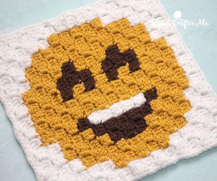 Happy Face Emoji C2C square and pixel graph