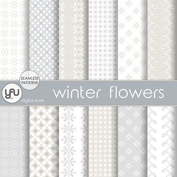 "Winter digital paper: ""WINTER FLOWERS"" with christmas scrapbook paper, winter paper, digital christmas paper, christmas digital download #Craft #Tools #Scrapbooking #Supplies #Paper  #christmas #digital   #paper  #scrapbook #seamless #patterns #holiday #background #winter #white #drawing #geometric"