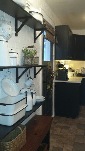 My kitchen white enamelware collection of over 25 years.