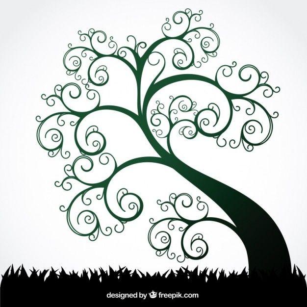 arbre tourbillon d'été Vecteur gratuit