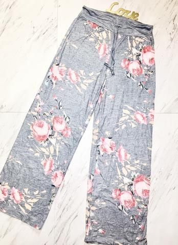 Floral Wide Leg Pants high waisted wide floral pants lounging pants