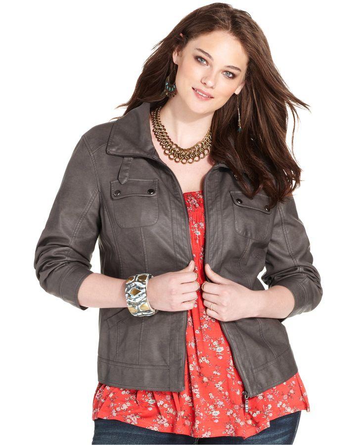 American Rag Plus Size Faux-Leather Bomber Jacket - Jackets & Blazers - Plus Sizes - Macy's