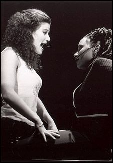 Idina Menzel and Fredi Walker in the original Broadway production of Rent <3 best cast best score best musical ever? I am so lucky to have seen it with the original cast 2x and several great casts and touring companies but Indina, oh Indina... when I grow young I want to be her...