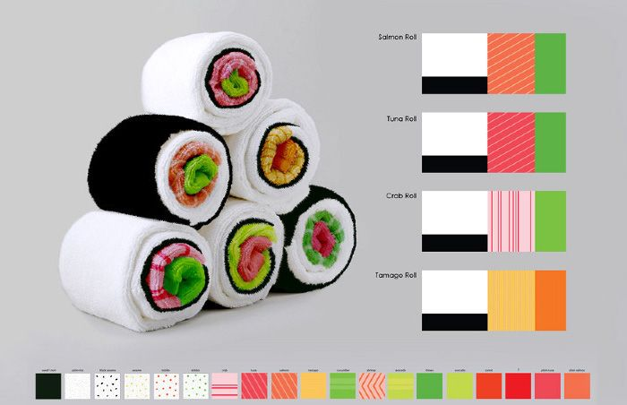 Jenny Pokryvailo has come up with another great piece of kitchen product design – sushi kitchen towels! Just roll them up and they become tasty-looking pieces of sushi roll.