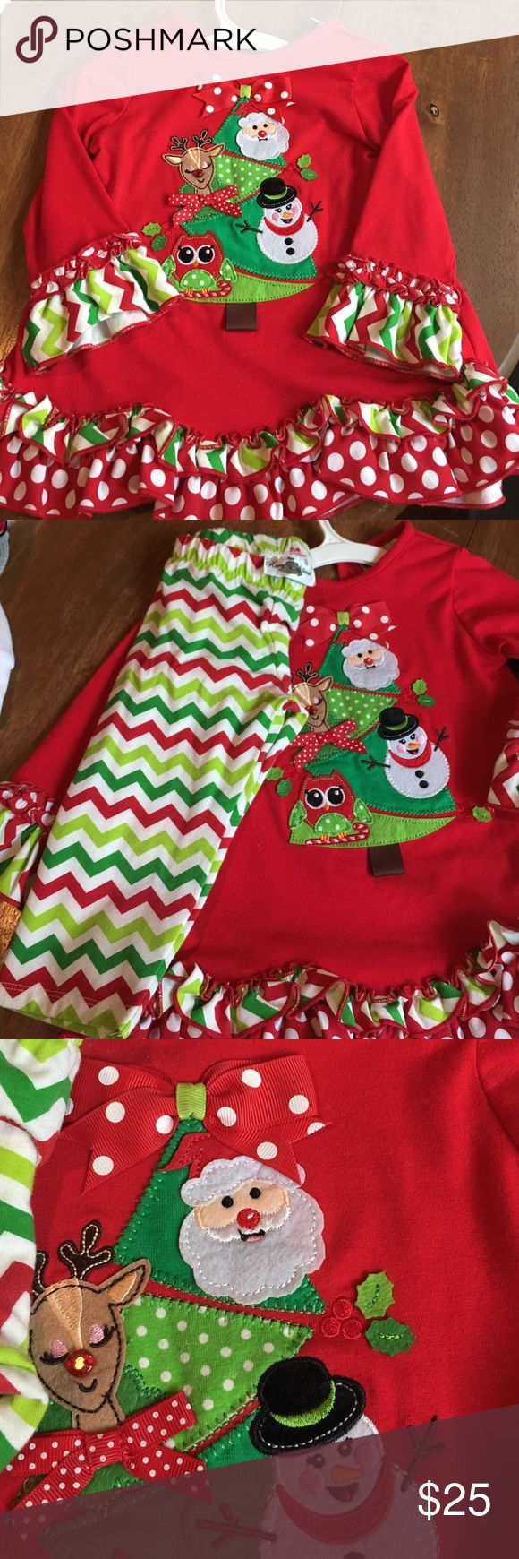 Rare Editions Christmas set 2t dress set, worn once, comes with green, red, white, chevron pants. Rare Editions Matching Sets