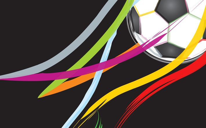 Download wallpapers football concepts, soccer ball, colorful lines, soccer