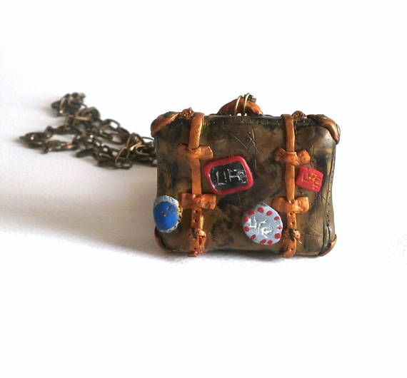 Vintage suitcase charm necklace polymer clay by Lijoux