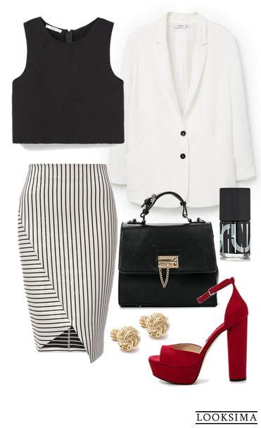 Летом даже классический офисный костбм может выглядеть совершенно иначе - классический жакет может быть белым, юбка-карандаш - в полоску, а блузу можно заменить на кроп-топ. Изюминка образа - яркая женственная обувь. Вы неотразимы!  http://looksima.ru/look/41569