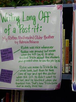 The Reader's Notebook - Writing Long off a Post-it and Reading Time line: Reading Workshop, Reader S Workshop, Reader S Notebooks, Readers Notebook, School Ideas, Classroom Ideas, Little Cottages