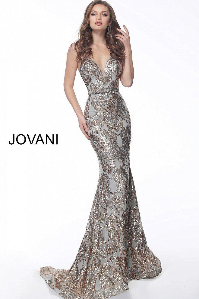 1e4e5f674fa4 Jovani 67347 Gold silver long fitted embellished criss cross back prom  dress 67347.