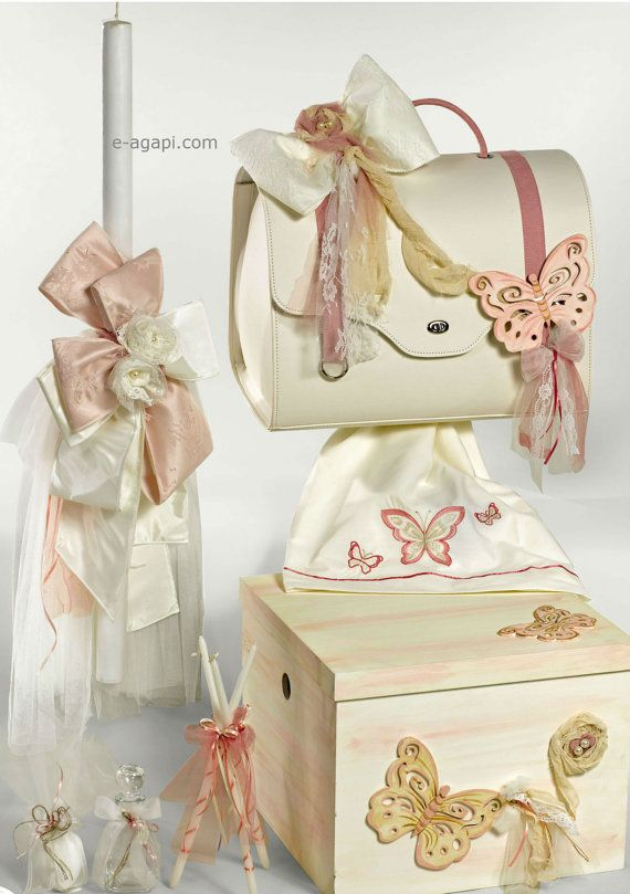 Butterfly greek baptism set with candle, bag, towel set, ladopana oil set Orthodox Baby girl baptism Romantic Handmade ivory pink lace christening set