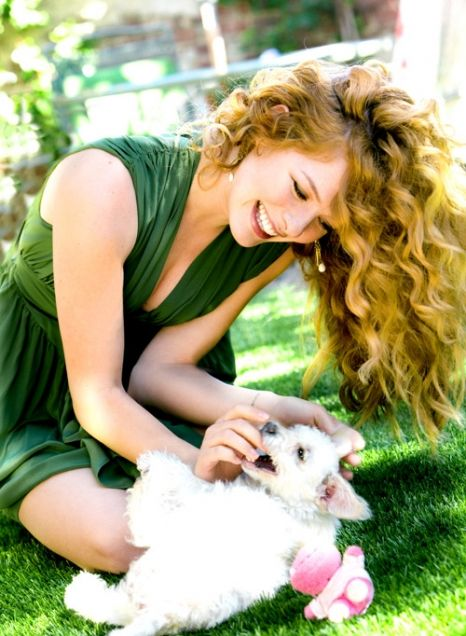 Rachelle Lefevre with her first shelter dog, Honey.