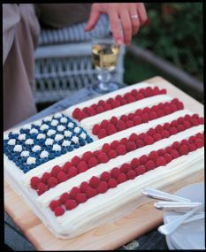 Barefoot Contessa - Recipes - Flag Cake. Love this cake. Make it every year. Can make half of recipe in a 9x13 pan for a smaller version.