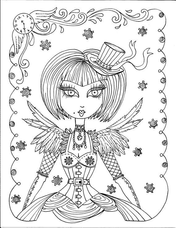 steampunk girl coloring pages - photo#6