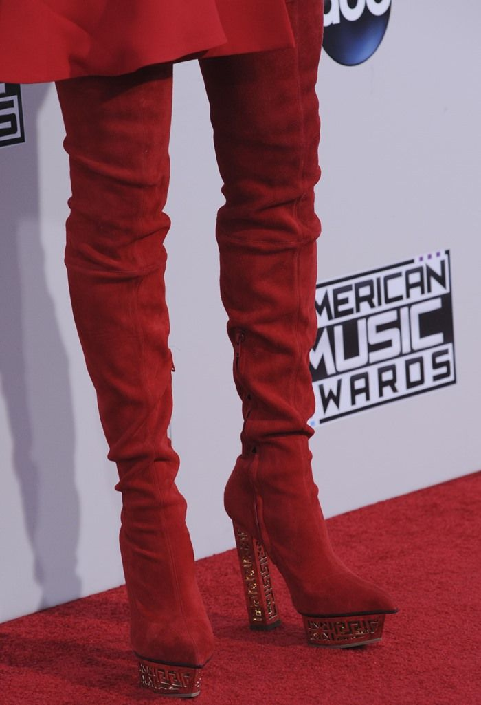 Jenny McCarthy in Red Suede Versace Over-the-Knee Boots