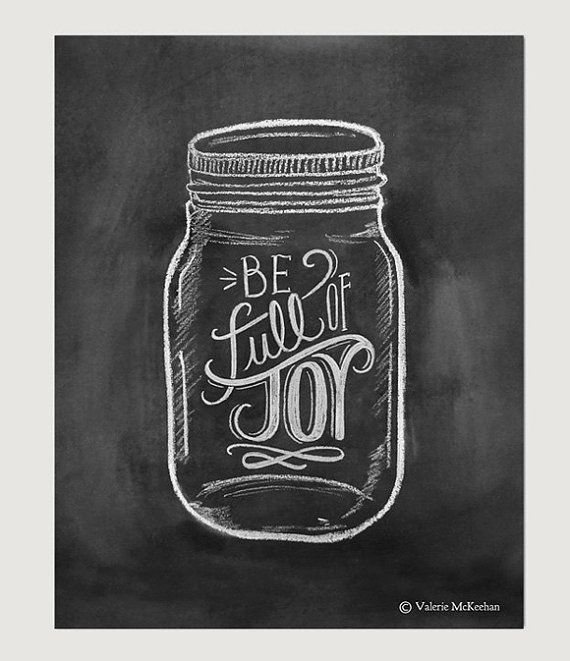 Be full of Joy is hand lettered inside a cute mason jar illustration. It serves as an uplifting reminder and would make a lovely addition to your