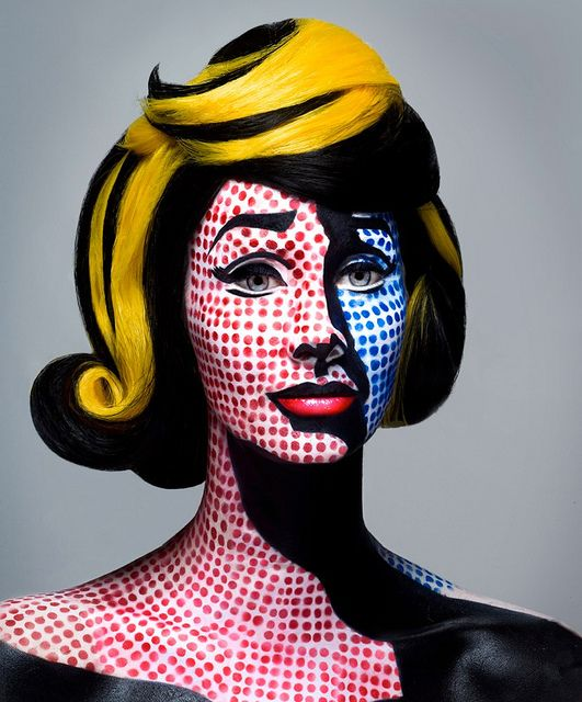 Make-up for Roy Lichtenstein pop art costume.