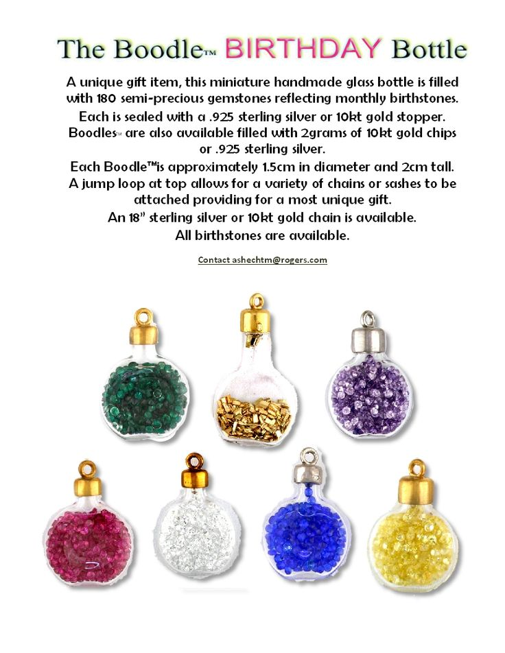 Miniature glass bottles filled with natural or synthetic birthstones, silver or gold- feature a sterling or gold cap with loop to fit a chain or sash cord. Unique and different.