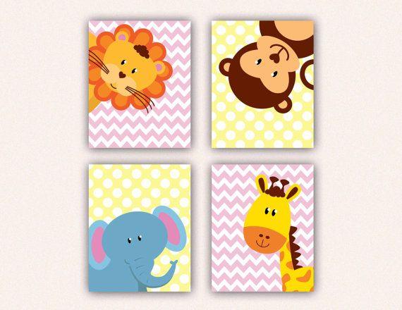 Jungle Animal Nursery Print Set  Elephant by SaraWintersDesigns, $36.00