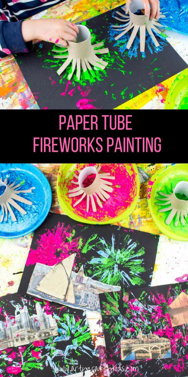 Arty Crafty Kids | Art | Paper Tube Fireworks Art Project for Kids | A process led Fireworks Art Idea for Kids using recycled materials to create firework backdrops for newspaper cities, towns and landscapes. A brilliant craft for Bonfire night, New Years or 4th July Celebrations!