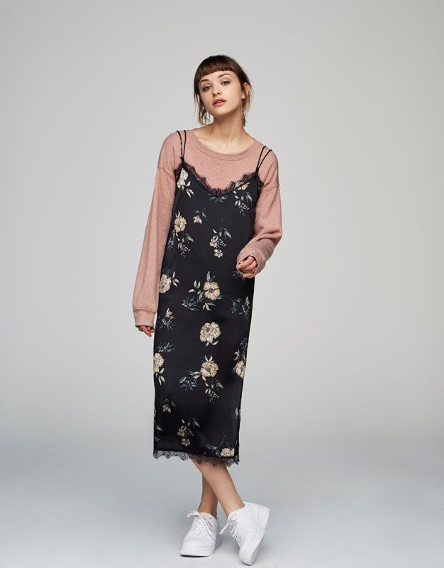 Floral slip dress - Teen Girls Collection - Woman - PULL&BEAR Spain