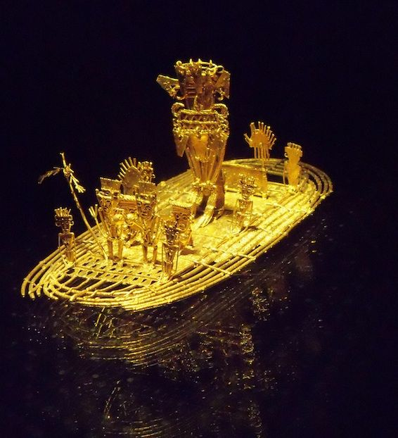 Pre-Colombian gold raft depicting the indigenous chieftain of El Dorado, who would float into the middle of a volcanic lake and sacrifice gold and emeralds to the gods.Museo del Oro.........