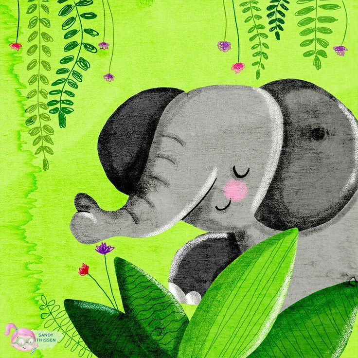 Elefant im Dschungel - Illustration von Sandy Thissen