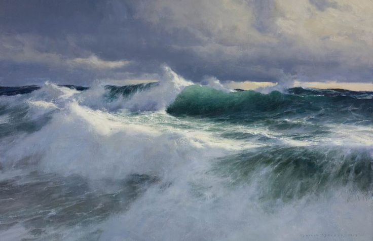 "The Paintings of Donald Demers ""Relentless Sea"" 24x36 oil."