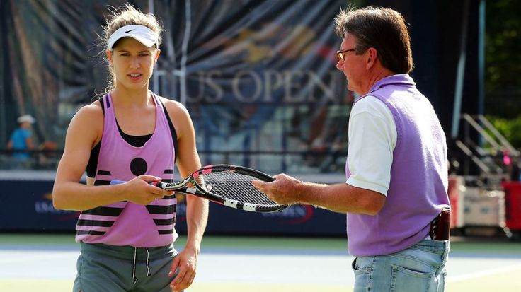 Canada's Bouchard with Jimmy Connors on the practice court prior to the 2015 U.S. Open