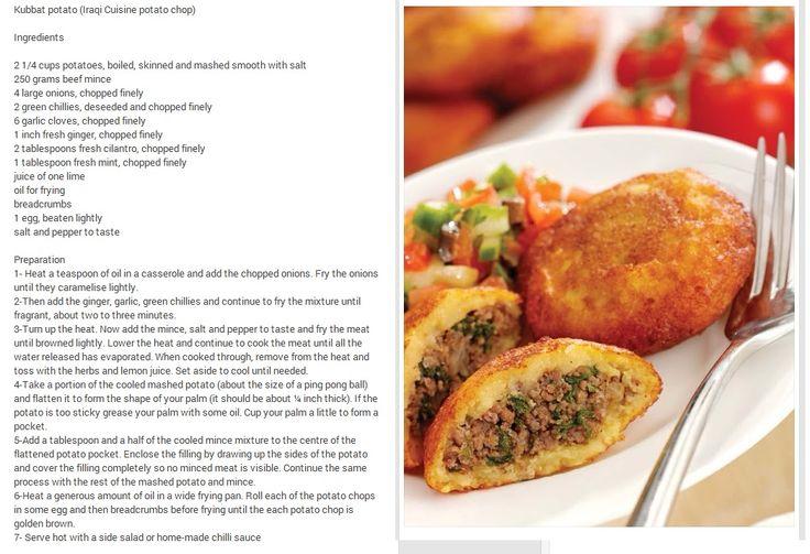 "Iraqi Recipe I must make! ""Kubbat Potato"""