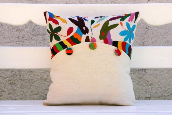 Otomi Sham Pair Multi colored buttons Embroidery by CasaOtomi