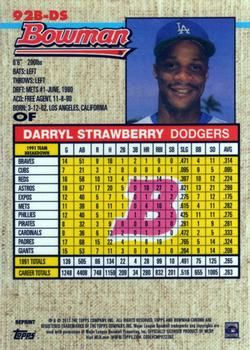 2017 Bowman - 1992 Bowman Chrome #92B-DS Darryl Strawberry Back