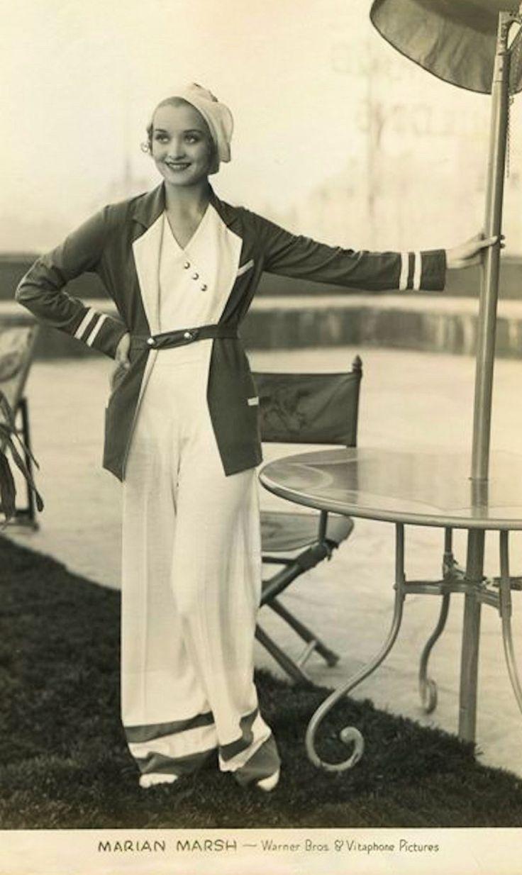 Marian Marsh - c. 1932 fashion style 30s lounge wear casual beach pants pajamas