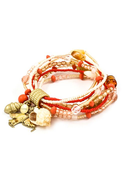 Red Coral Shell Charm Bracelet.