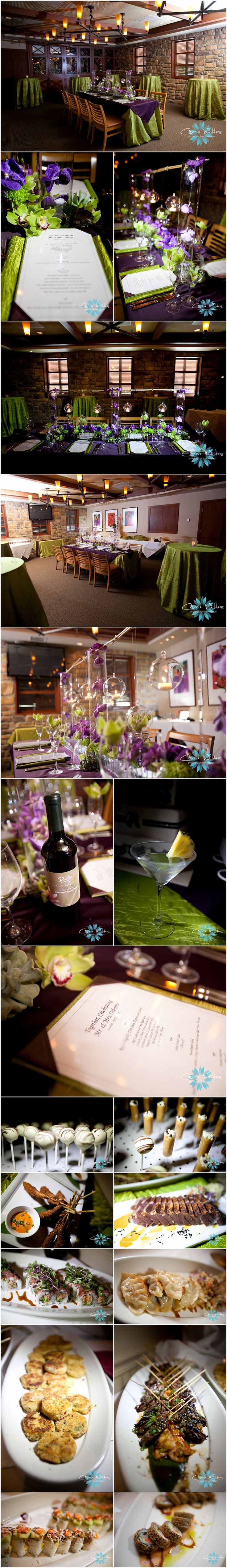 Rehearsal dinner idea-decorating your rehearsal dinner space is a great idea. Makes the room more inviting and more like a wedding rehearsal, rather than just eating out at a restaurant or a persons home