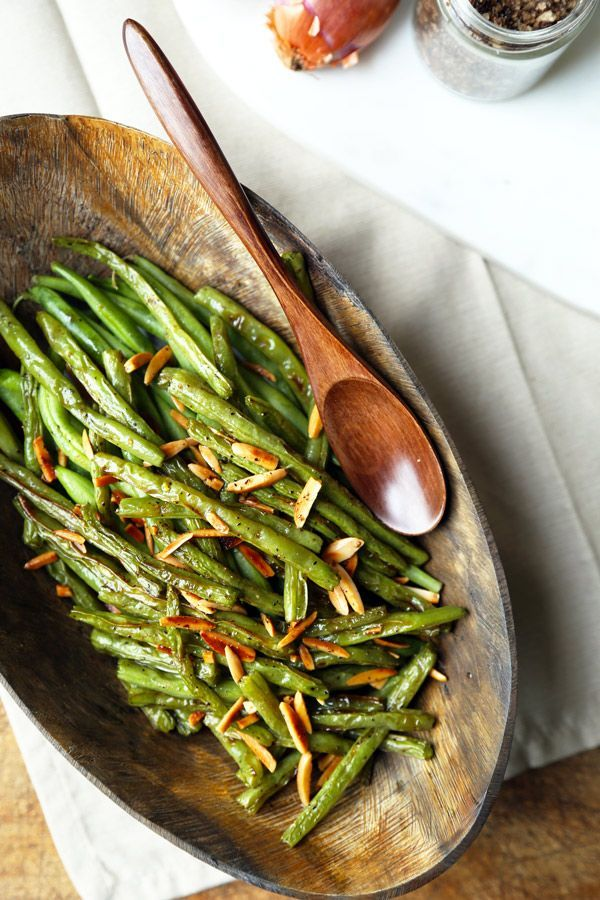 Broiled Green Beans Almondine - A buttery and nutty Broiled Green Beans Almondine Recipe that's on the healthier side and only takes 15 minutes to make from start to finish! Recipe, vegetarian, gluten free, healthy, side, appetizer