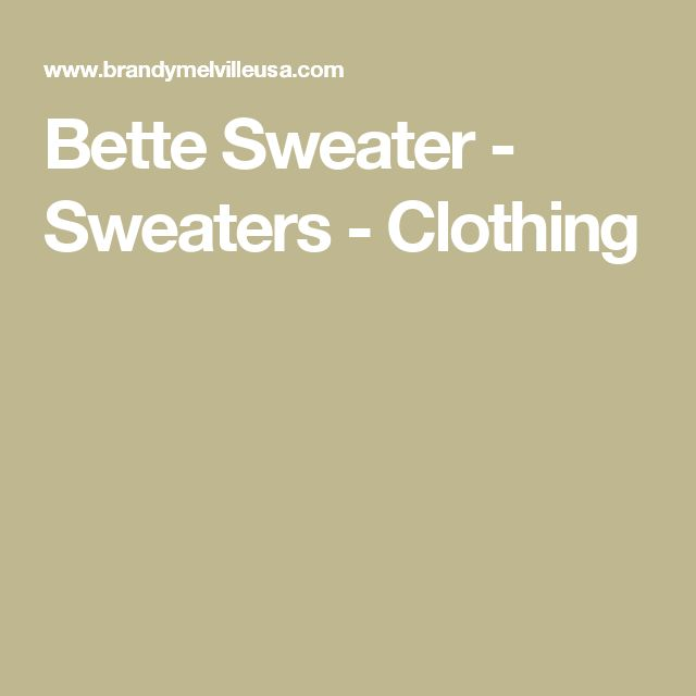 Bette Sweater - Sweaters - Clothing
