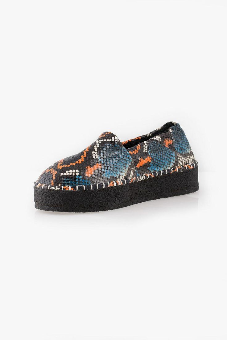 """These """"Kozy"""" espradrilles from Kenzo come in a beautiful blue and orange snake print. With lined sheepskin and 3cm heel these cool and stylish shoes are this winters must have!  Heel Height: 3cm  Kenzo Kosy Espadrilles by Kenzo. Shoes - Flats - Espadrilles"""