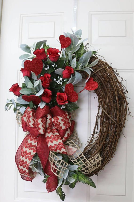 Valentines Wreath For Front Door Red Roses Valentine Wreath For