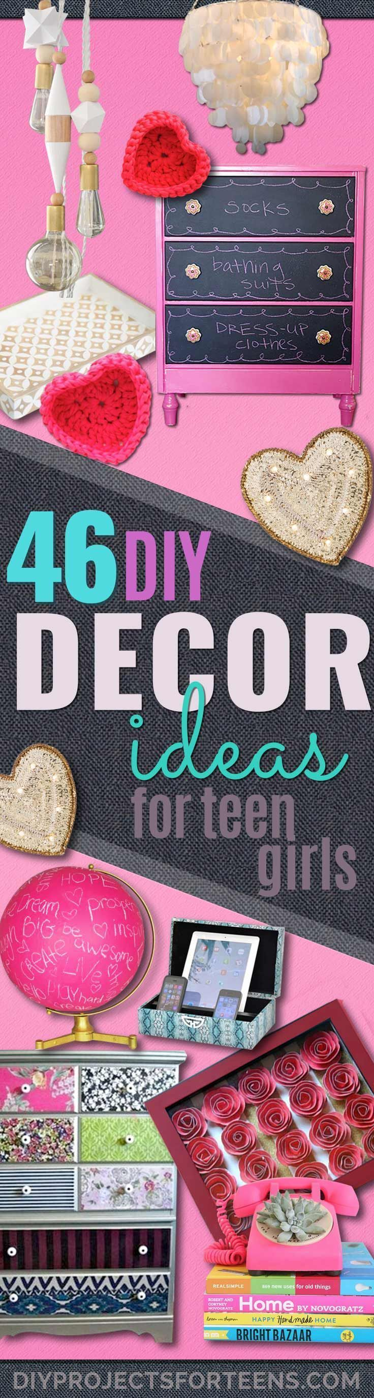 DIY Teen Room Decor Ideas for Girls   Fun Crafts and Decor For Tweens   Cool Bedroom Decor, Wall Art & Signs, Crafts, Bedding, Fun Do It Yourself Projects and Room Ideas for Small Spaces http://diyprojectsforteens.com/diy-teen-bedroom-ideas-girls