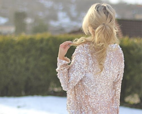 blush sequins: Sequins Cardigans, Sweaters, Pink Sparkle, Saia Mini-Sequins, Jackets, Cute Hair, Blazers, High Ponytail, Ponies Tail