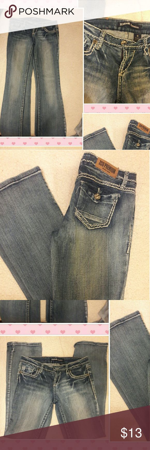 """ZCO JEANS, VERY COOL! SIZE 9, """" ZCO PREMIUM """" ORIGINAL,  SOME STRETCH, GENTLY WORN ZCO Jeans"""