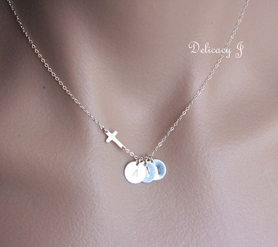 Personalized cross necklace with THREE initial discs in sterling silver, initial necklace for family friendship birthday baptism new baby