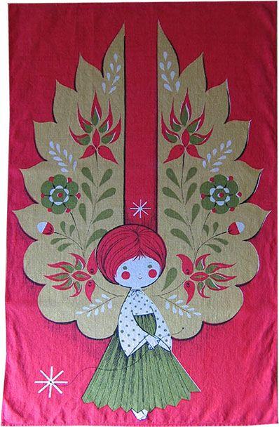 1960s tea towel Christmas