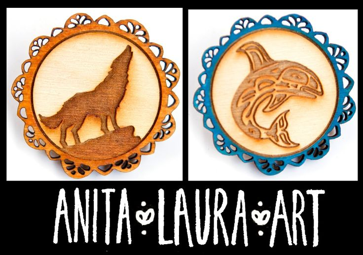 Brooches - Hand drawn and painted - Laser Cut Wood - Anita Laura Art