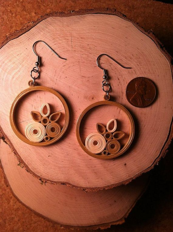 Beige Circles Quilled Earrings by CharmCityQuills on Etsy, $20.00