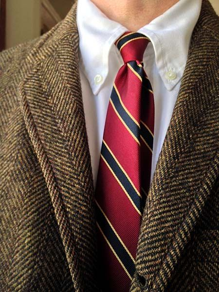 Vintage Deansgate 3/2 tweed jacket and Rivetz silk tie for Peller & Mure, Buffalo; Brooks Brothers white 'Gatsby' OCBD.
