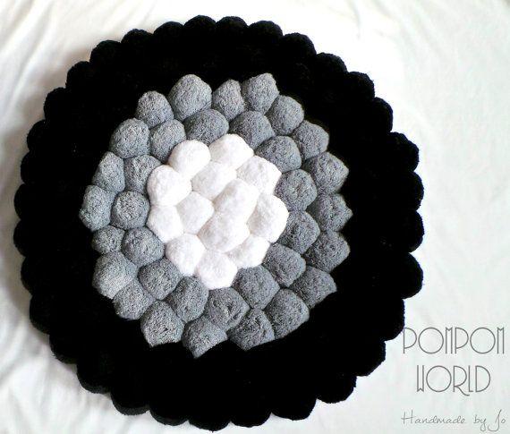Pom pom rug, Fluffy carpet, White Grey Black, Pompoms, Home decor, Black, Gray, Grey, White, Unique room decor, Round rug, Round carpet
