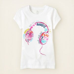 girl - graphic tees - headphones graphic tee | Children's Clothing | Kids Clothes | The Children's Place